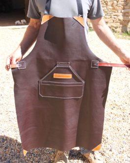 Tablier en cuir avec poches