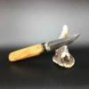 couteau style finlandais en loupe d'amboine et ébène
